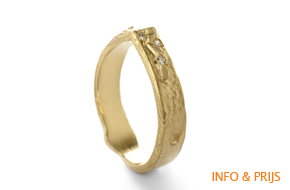 Asymmetrische ring in geel goud