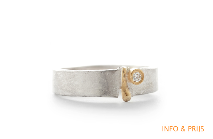 Ring in zilver met detail in geel goud