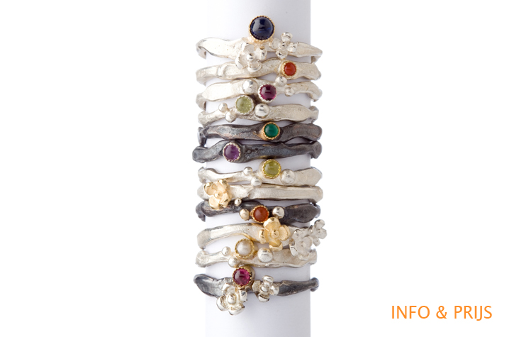 Silver rings with colored stones