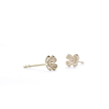 Ear studs flowers in white gold