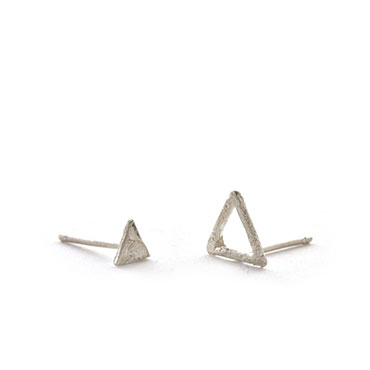 Assymetric triangle earrings with