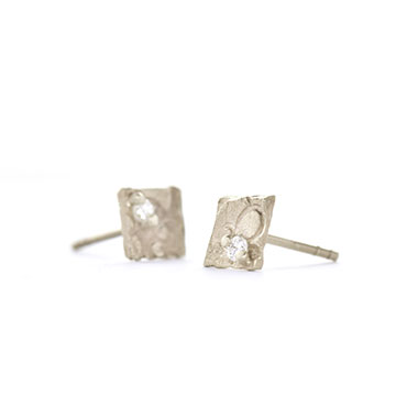 square ear studs with diamond