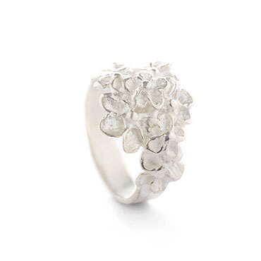 bouquet of flowers ring in silver