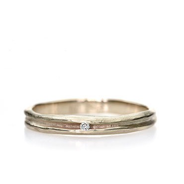 Fine engagement ring with diamond in hollow
