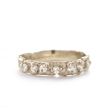 small rough ring with 7 diamonds