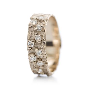 rough ring with 9 diamonds - Wim Meeussen Antwerp