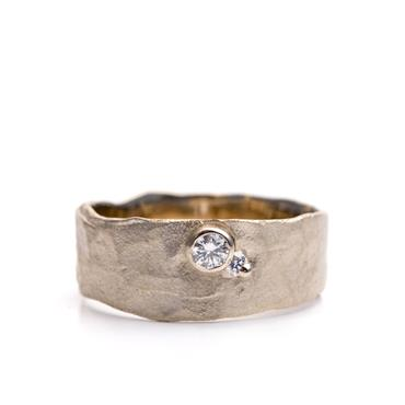 wide Golden engagement ring with diamonds