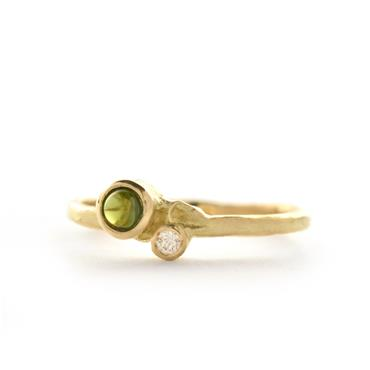Ring in yellow gold with green tourmaline - Wim Meeussen Antwerp