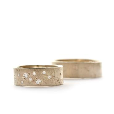 Wide wedding rings with diamonds