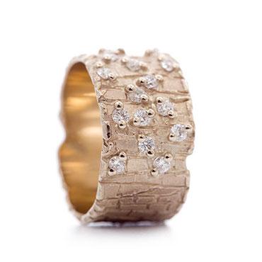 Onwijs Brede gouden ring met diamanten | Wim Meeussen Goudsmederij Antwerpen PK-94
