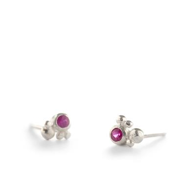 Silver earrings with ruby