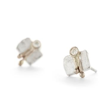Earrings in silver with diamonds