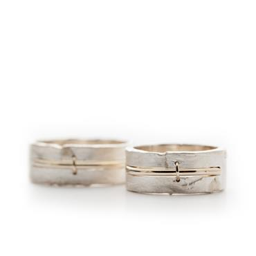 Silver rings with golden details
