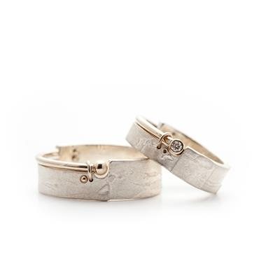 Silver wedding rings with diamond - Wim Meeussen Antwerp
