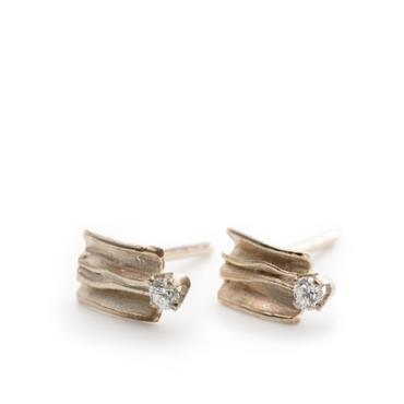 Earrings white gold with diamond