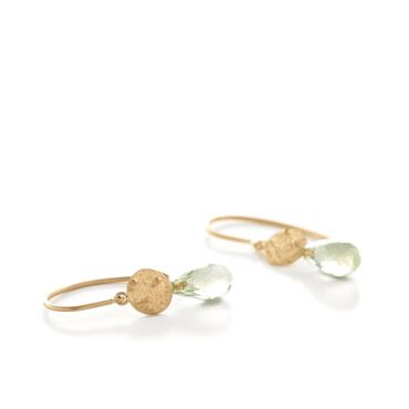 Earrings in yellow gold with präsiolith