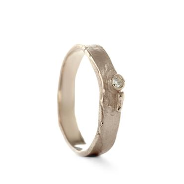 roough golden ring with diamond