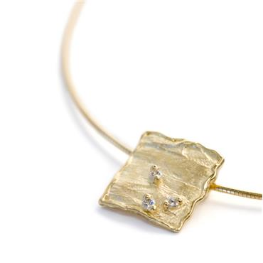 Square pendant on necklace
