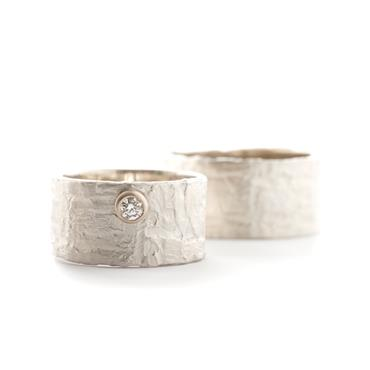 Wide silver wedding bands with structure