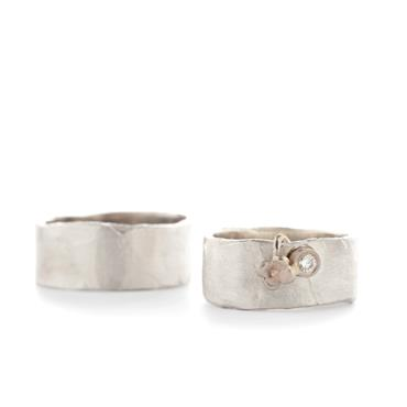 Silver wedding rings with detail in gold + diamond - Wim Meeussen Antwerp