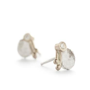 Earrings in silver with white gold