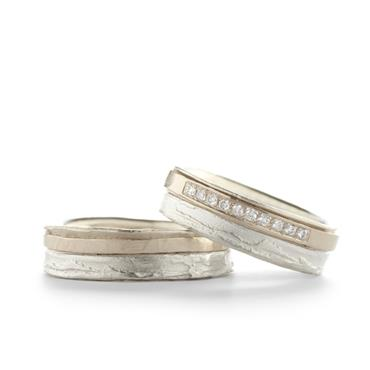 Combination wedding bands with tree bark texture